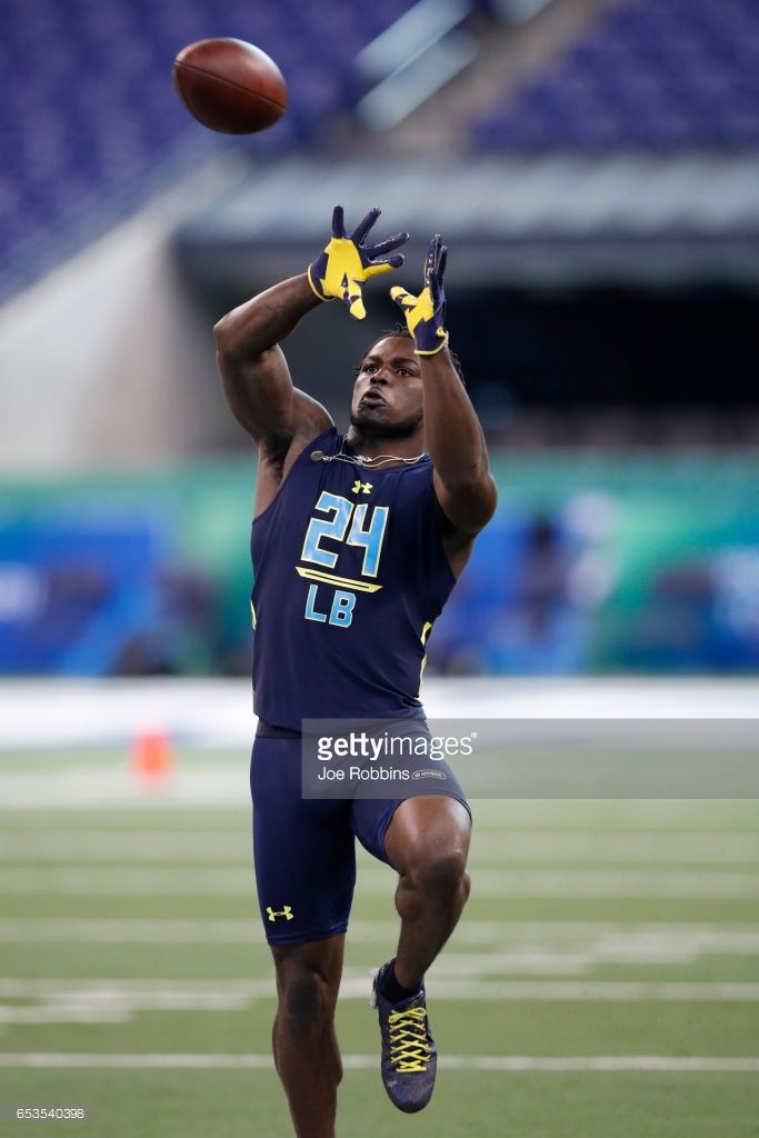 Linebacker Jabrill Peppers of Michigan in action during day five of the NFL Combine at Lucas Oil Stadium on March 5, 2017 in Indianapolis, Indiana.