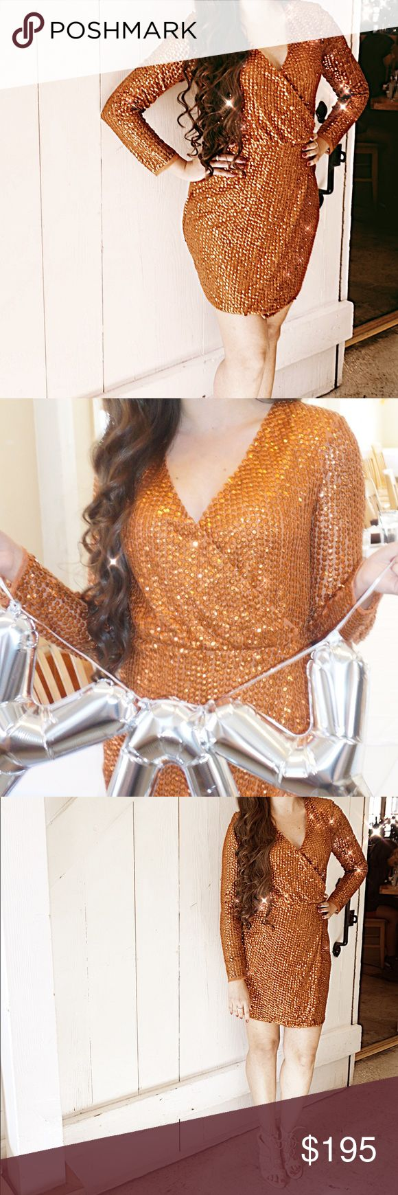 Glitzy Missguided Dress This beautiful Missguided Peace + Love Copper Sequin Wrap Mini Dress was only worn once for a couple of hours. Absolutely beautiful and shines in every photo. ‼️NO TRADES‼️ Missguided Dresses Mini