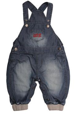 Naartjie Kids SA newborn boys' denim dungarees with grey melange ribbed cuffs and an embroidered pocket. 100% cotton excluding trims.