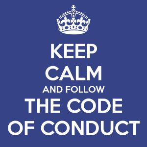 Conduct  This states that you must abide by the code or you could face serious personal/legal consequences. This relates to the Catholic social teaching Call to Family, Community, and Participation because the common goal is to make sure the well being of the community is secured.