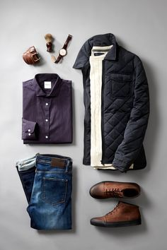 Outfit grid - Quilted jacket  jeans                                                                                                                                                                                 More