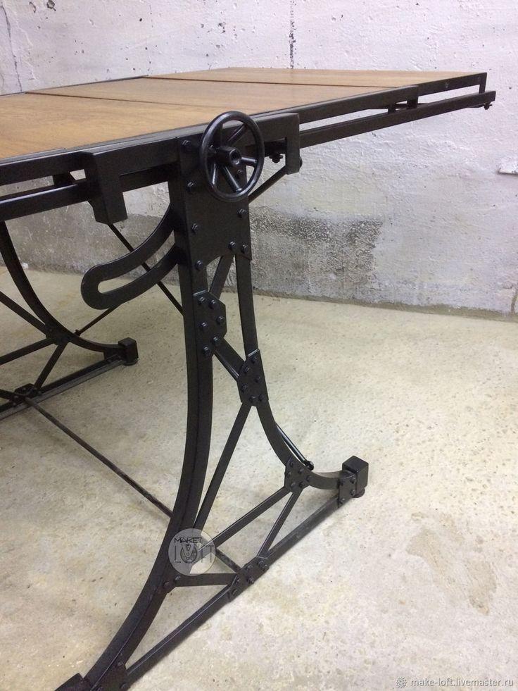 Купить Стол трансформер в стиле Лофт - металл, стол, дерево, Трансформер, стеллаж, лофт, дерево