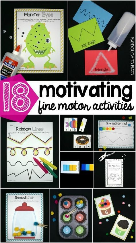 18 motivating fine motor activities for preschool and kindergarten! Fun ways to build hand-eye coordination, hand strength and grasp for writing later.