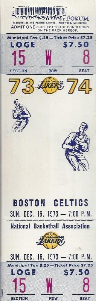 1973-74 NBA BOSTON CELTICS @ LA LAKERS FULL UNUSED BASKETBALL TICKET @ LA FORUM