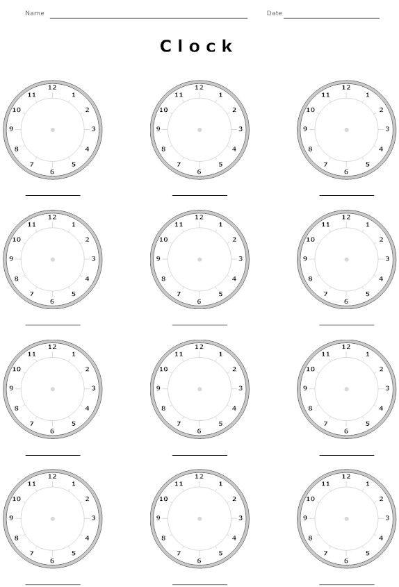 educational clock worksheet education pinterest clock worksheets worksheets and school. Black Bedroom Furniture Sets. Home Design Ideas
