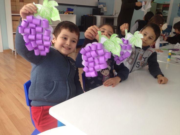 Mor rengini öğreniyoruz. Kabartmalı üzüm etkinliği. Okul öncesi üzüm etkinliği