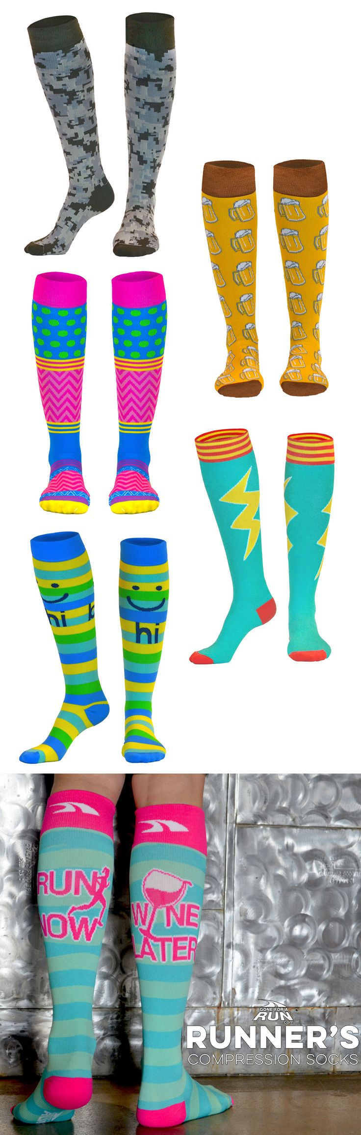 Our colorful and fun compression socks are the perfect way to add a bit of fun to any running outfit! Perfect for race day or any day!