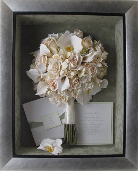 Re-purpose your wedding bridal bouquet in shadow box or frame to use as home decor | http://blog.petalsbyxavi.com