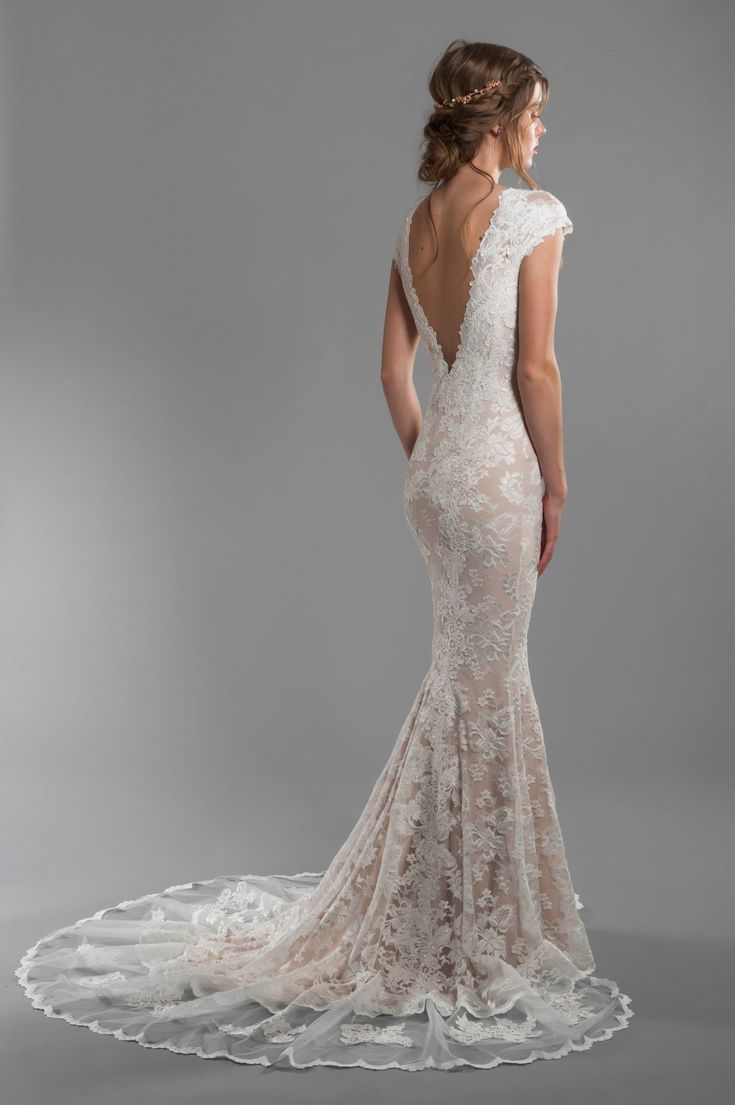 Cap Sleeve All Lace Deep V-neck Fit And Flare Wedding Dress With Deep-v Back