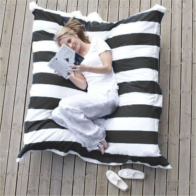 It's time to relax: Big black and white striped cushion as a couch #stripes #pillow