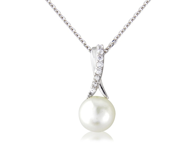 A Sterling silver freshwater pearl drop pendant with crystal set crossover twist.  Affordable luxury that every bride deserves.