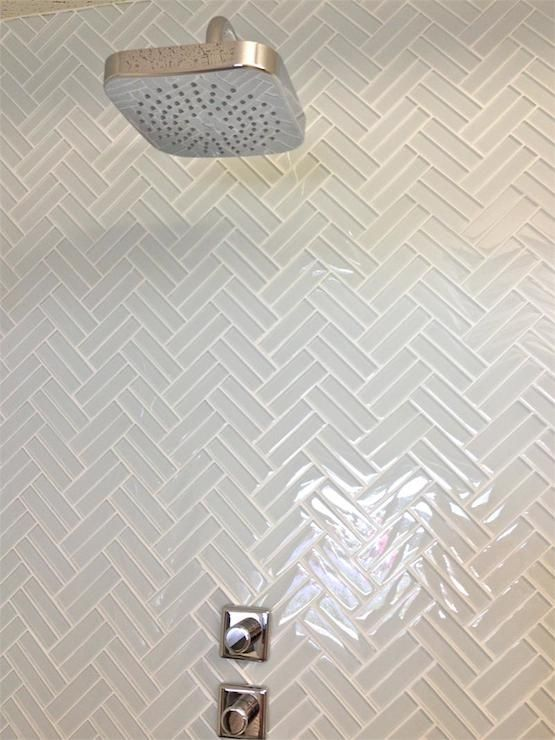 Mod walls lush 1x4 cloud weave glass herringbone tile for Small bathroom herringbone tile