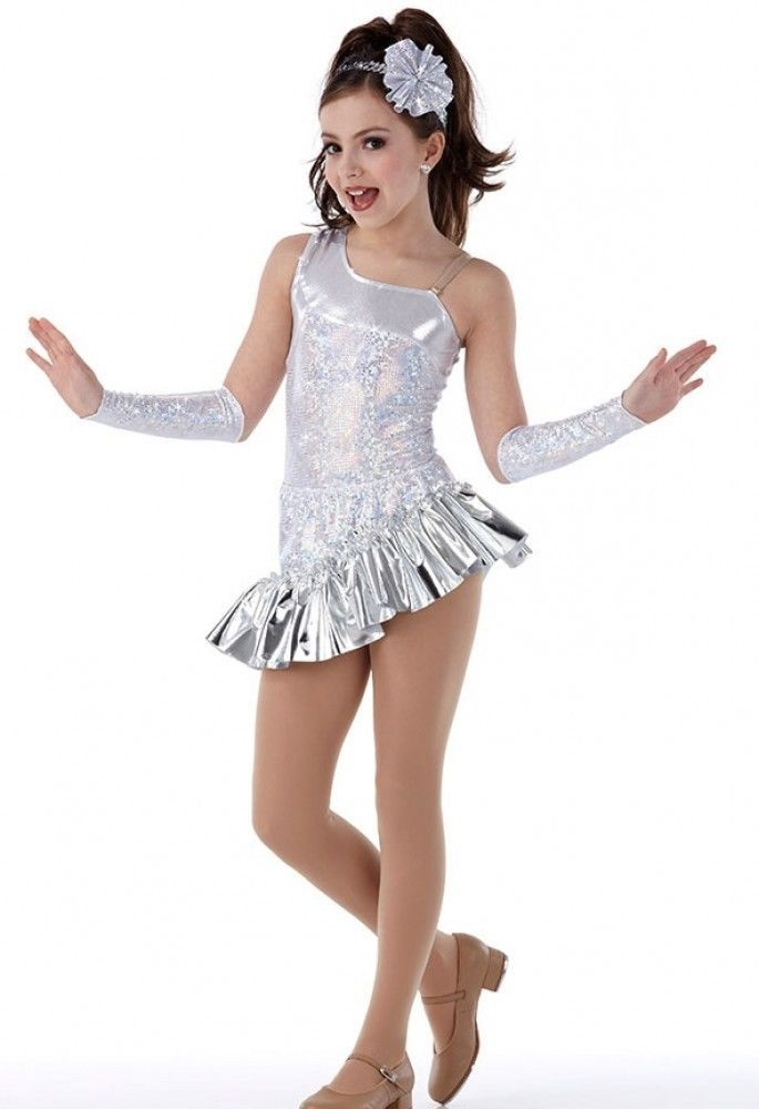NWT DANCE COSTUME Tap Back Skirt Bustle Silver Sequin Edging Organdy 2 colors