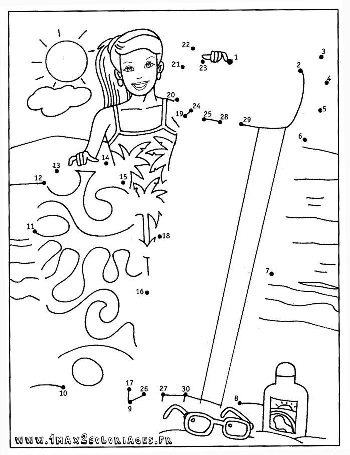 Les 27 meilleures images du tableau coloriage theme plage sur pinterest plage coloriage plage - Dessin point a point ...