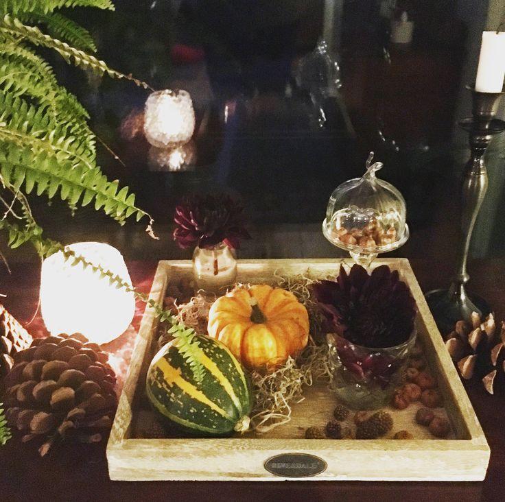 Herfstdecoratie met pompoen, dahlia en kaarsen / falldecoration with pumpkin, dahlia and candles