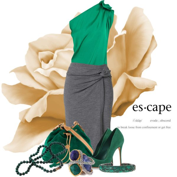 Escape by leptismagna on Polyvore featuring moda, Lanvin, Witchery, Schutz, Fendi, Alexis Bittar, M.C.L by Matthew Campbell Laurenza, GREEN and gray