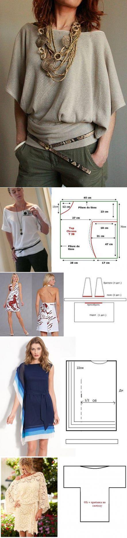 Эффектные блузоны и платья из одного полотна! Простые выкройки