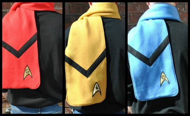 I could make these... then I could sell them... (Become Geek Chic with These Star Trek Scarves and T-Shirt — GeekTyrant)