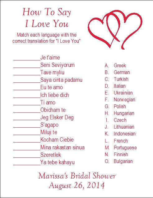 Best 25 i love you translations ideas on pinterest meaning of 24 personalized how to say i love you bridal shower by print4u stopboris Image collections