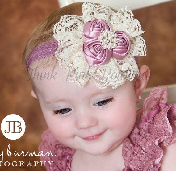 Baby Headband,Newborn headband, Mauve Cream baby headbands,lace headband, satin flowers headband,Girls Headband, Hair Bows