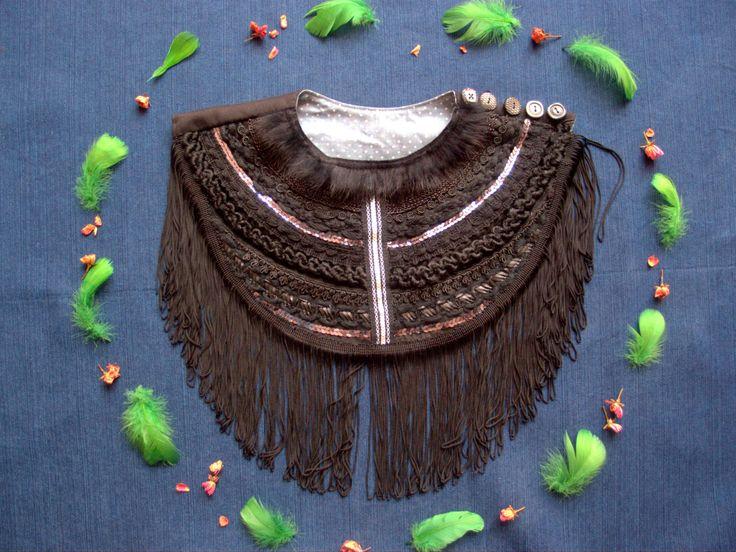 Black Ethnic Necklace with Long Fringe,Fashion Necklace,Art to wear,Burning Man Clothing,Gift for her,Valentine Gift by baboshkaa on Etsy
