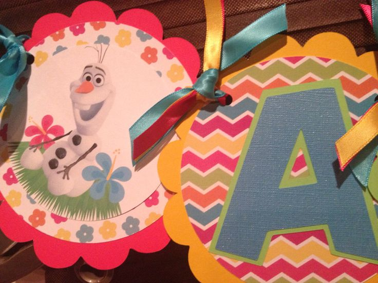 Frozen Olaf Summer Party Name Banner by MyLittleGaggle on Etsy https://www.etsy.com/listing/200650669/frozen-olaf-summer-party-name-banner