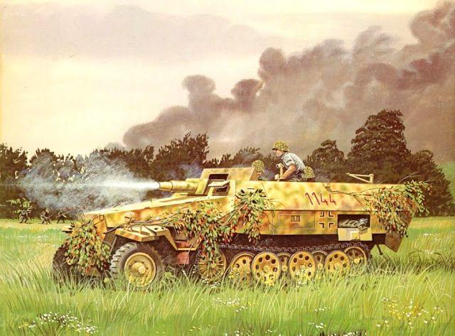 Sdkfz 251-9 Stummel División SS Panzer Das Reich, retirada de Francia, cerca del Sena Agosto 1944