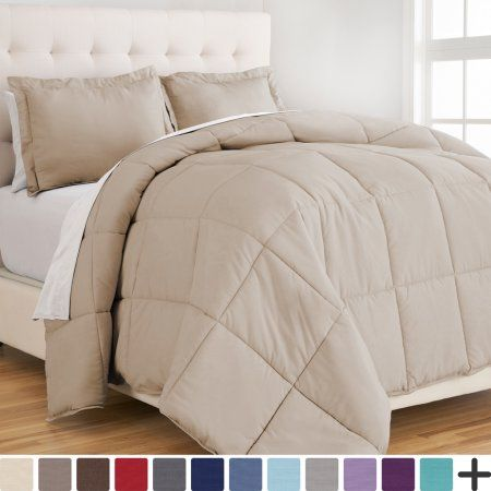 Ultra-Soft Premium 1800 Series Goose Down Alternative Comforter Set - Hypoallergenic - All Season - Plush Siliconized Fiberfill (King/Cal King - Sand), Beige