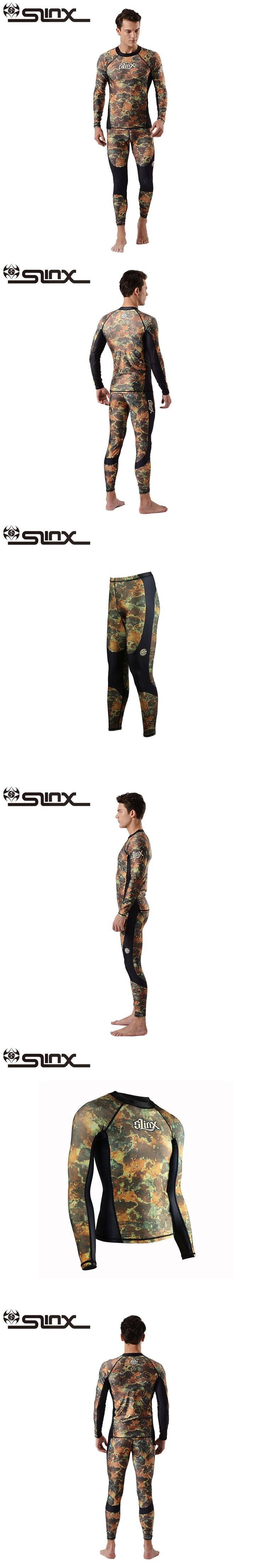 SLINX 0.5mm Lycra Men 2-Pieces Rashguard Camouflage Wetsuit Diving Skin Long Sleeve Swimming Shirt Camo Swimwear Beachwear