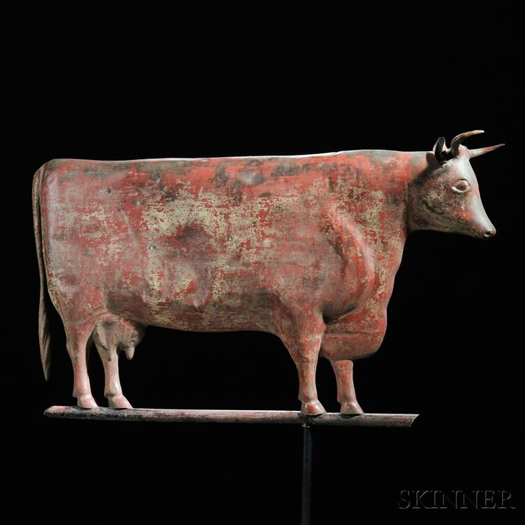 Molded Copper Red-painted Cow Weathervane, attributed to Cushing & White, Waltham, Massachusetts, late 19th century