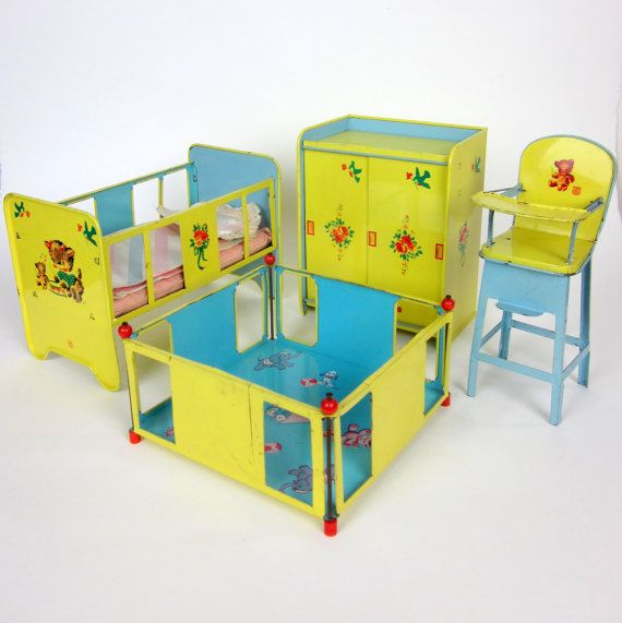 Chein Tin Toy Baby Furniture Set 50s / Crib, Playpen, High Chair and Wardrobe