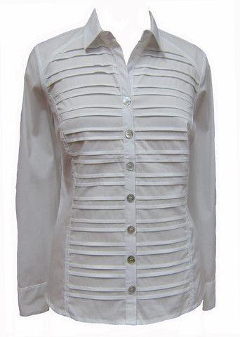 MC-Long sleeve tuxedo pleat front blouse (9317)