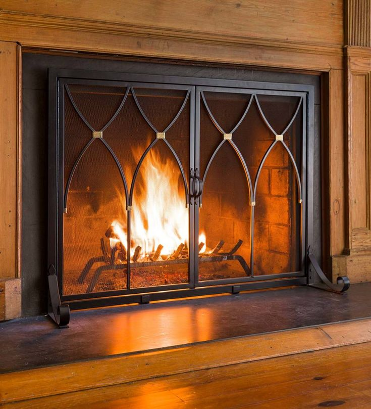 The Clean Lines And Understated Style Of Our Winchester Fireplace Screen Complements Any Decor Fireplace Screens Fireplace Screens With Doors Fireplace Screen