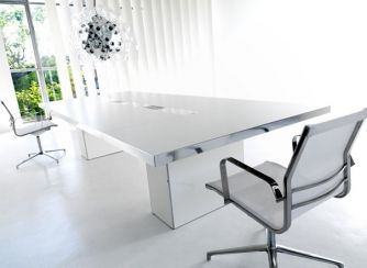 New range of conference tables with White tabletop in either glass or white lacquer version - Wing Boardroom Furniture
