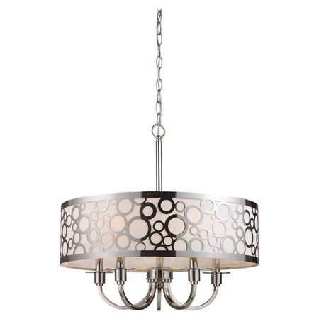 Polished nickel chandelier with laser-cut oval accents.    Product: Chandelier    Construction Material: Metal and gla...