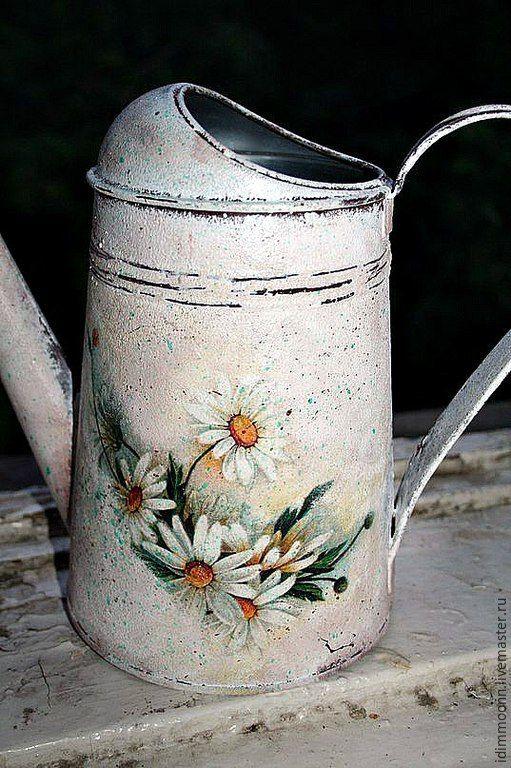 Купить Лейка с ромашками - белый, лейка, лейка декупаж, лейка для полива цветов, лейка для цветов