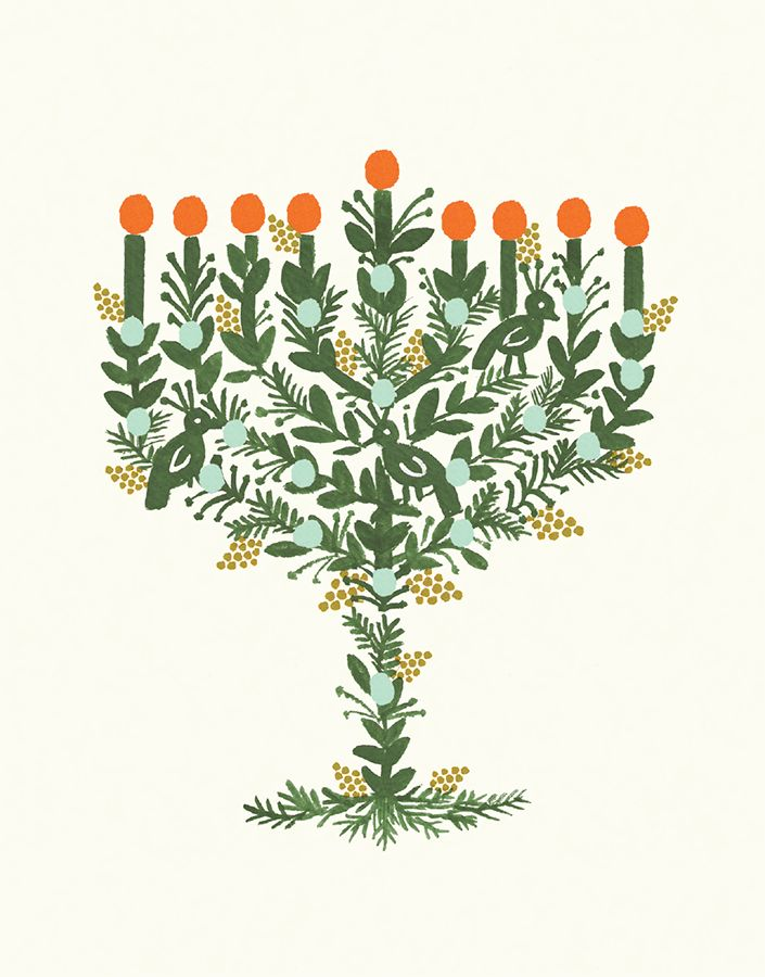 Illustrated Menorah card by Rifle Paper Co. on Postable.com