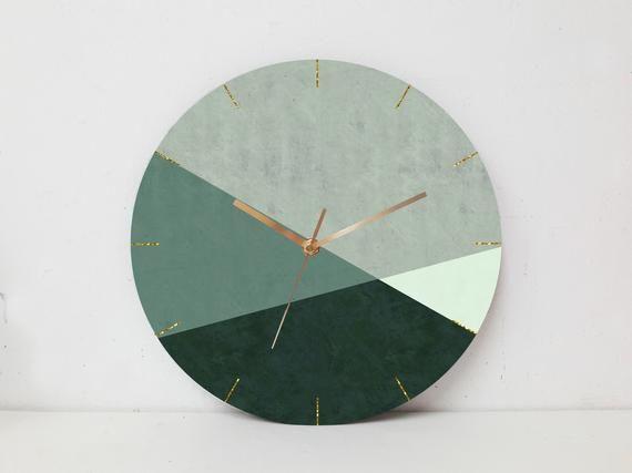 Geometric Wall Clock Minimalist Wall Clock Large Wall Etsy In 2020 Large Wall Clock Modern Large Clock Wall Clock