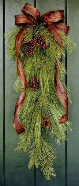 post holiday--keep your greens but switch out the red ribbon for this pretty bronze