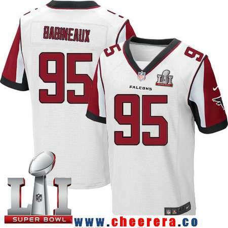 ... Mens Atlanta Falcons 95 Jonathan Babineaux White Road 2017 Super Bowl  LI Patch Stitched NFL ...