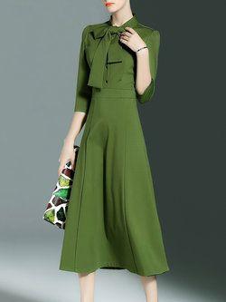 Simple Stand Collar Plain 3/4 Sleeve Bow Midi Dress