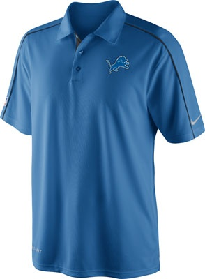 Detroit Lions Blue Nike Sideline Coaches Dri-Fit Performance Polo #lions #nfl #detroit