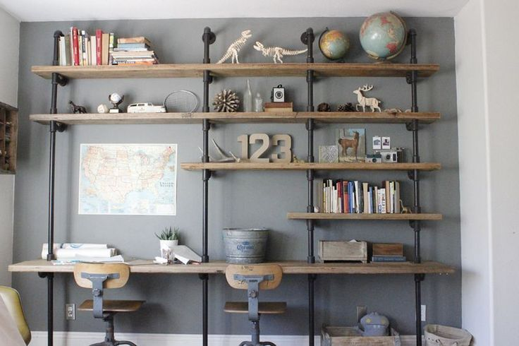 Pipe and wood bookshelf/desk ... Desk Bookshelf