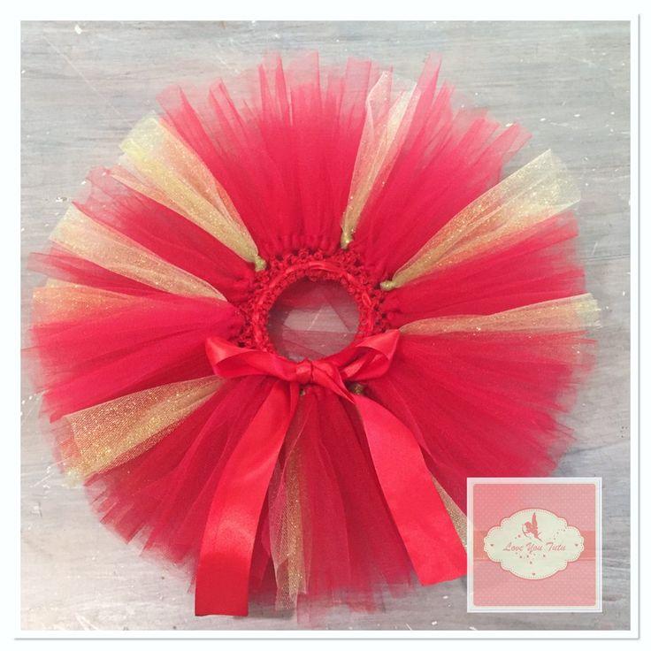 Red & gold glitter short Tutu skirt