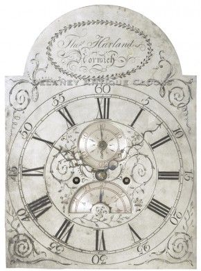 Tall clock dial signed by Thomas Harland, Norwich, Connecticut.