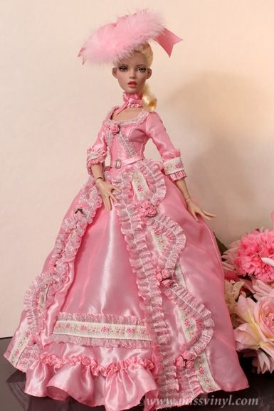 Image result for rouge pink gold brocade doll dress