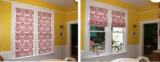 How to make roman shades.  This is the pattern that we followed when we made them for our bay window.  It took a long time, but it was worth it!