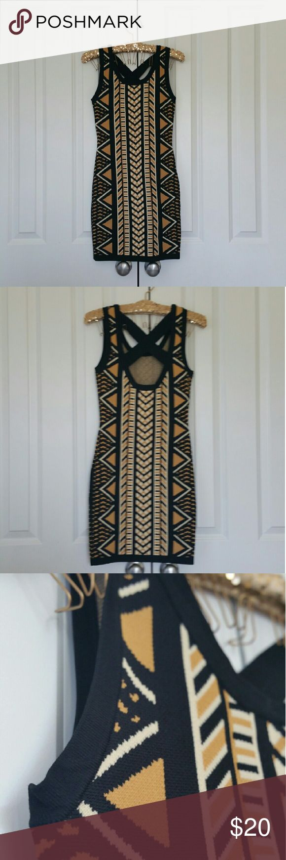 """▪Black, Cream, Camel Body Con Cross Back Dress▪ Brand new with tags...  Size is Small...  50% rayon, 50% viscosa...  Measures 14"""" across the bust, 32"""" length from the shoulder down...  Really stretchy...  If you have any questions please ask... If you don't like the price please use the offer button... Sorry no trades...  """"Great Sense of Style"""" Have an amazing day! Forever 21 Dresses Mini"""