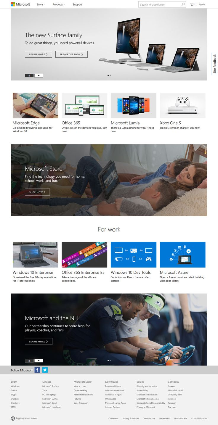 Microsoft website in 2016