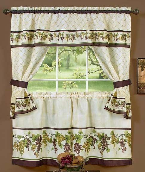 Tuscany Cottage Curtains Complete Kitchen Sets Features Ready To Pick Off The Vine These Luscious Grapes Add A Touch Of Freshness